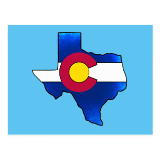 Bright Colorado flag Texas shape postcard