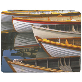 Bright colored boats at the Wooden Boat Center iPad Cover