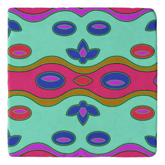 Bright Colorful Funky Abstract Art Trivet