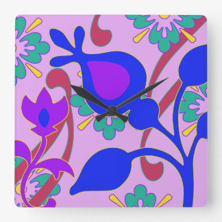 Bright Colorful Funky Flowers Wall Clock