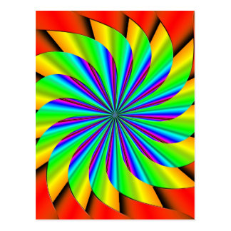 Bright Colorful Pinwheel Fractal Postcard