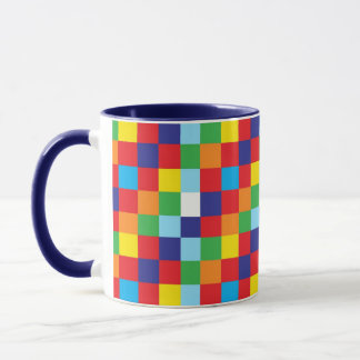 Bright Colorful Quilt Squares Pattern Blue Red Mug