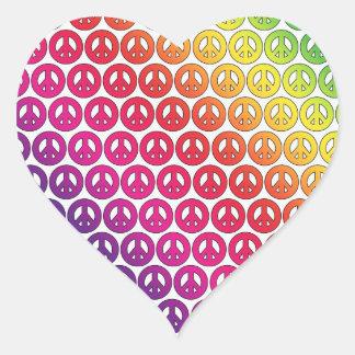 Bright Colorful Retro Rainbow Peace Symbols Heart Sticker