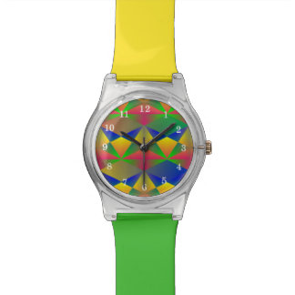 Bright Colorful Two Tone Funky Wrist Watch