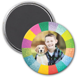 Bright Colour Wheel Round Photo Magnet