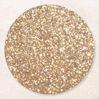 Bright Copper Glitter Sparkles Round Paper Coaster