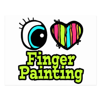 Bright Eye Heart I Love Finger Painting Post Cards