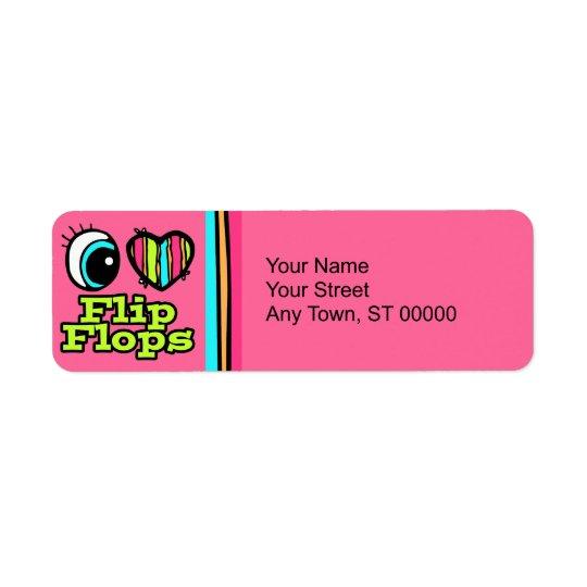 Bright Eye Heart I Love Flip Flops Return Address Label
