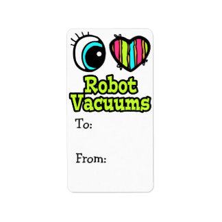 Bright Eye Heart I Love Robot Vacuums Label