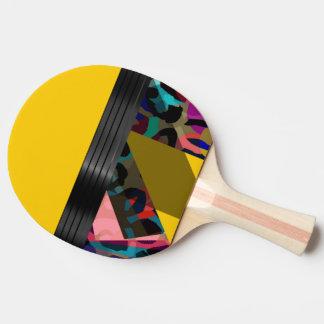 Bright Fancy Yellow Rainbow Cheetah Ping Pong Paddle
