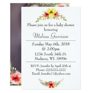 Bright Floral Photo Baby Shower Card