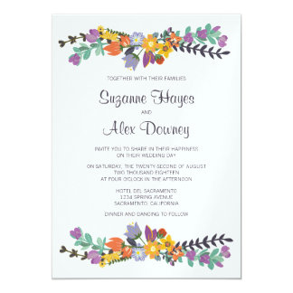 Bright Floral Spring Wedding Card