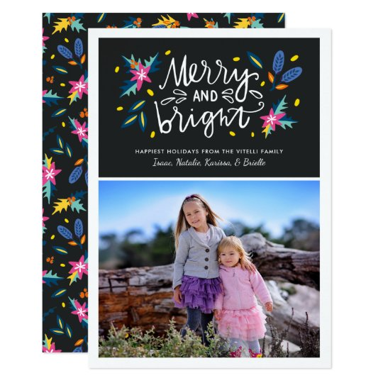 Bright Florals Photo Holiday Card | Vertical