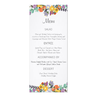 Bright Florals Spring Wedding Menu Card 10 Cm X 24 Cm Invitation Card