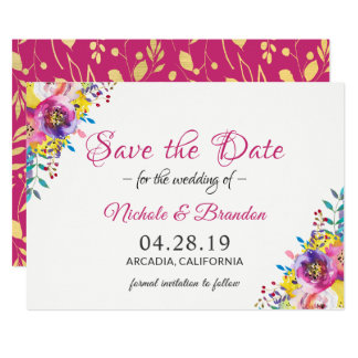 Bright Fuchsia Gold Flowers Spring Save The Date Card