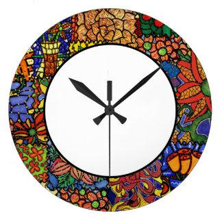 Bright Funky Patchwork Pattern Kitchen Clock