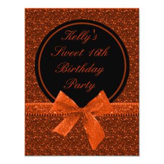 Bright Glitter Orange Mod Halloween Sweet 16 Party Card