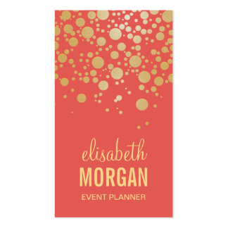 Bright Gold Confetti Dots - Stylish Coral Orange Double-Sided Standard Business Cards (Pack Of 100)