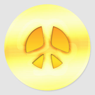 Bright Gold Peace Sign Sticker