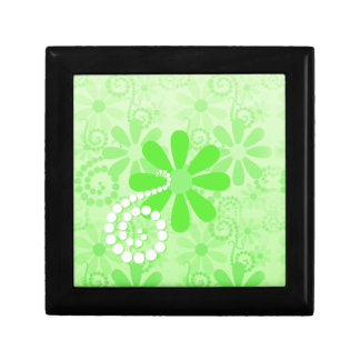 Bright Green Floral Cute Retro Daisy Flowers Gift Box
