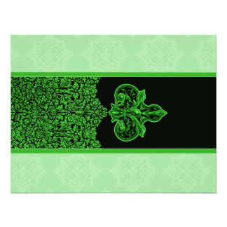 Bright Green Indian Floral Ornament Wedding RSVP Personalized Announcements