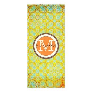 Bright Green Orange Pattern Monogram Rack Cards