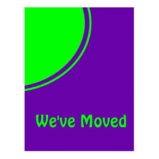 Bright Green Purple Weve Moved Announcement Postcard