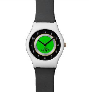 Bright Green Silver Black Monogram Watch