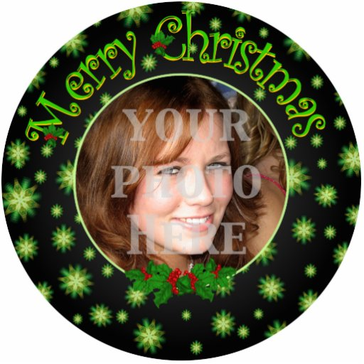 Bright Green Stars Christmas Custom Photo Ornament Photo Cut Outs