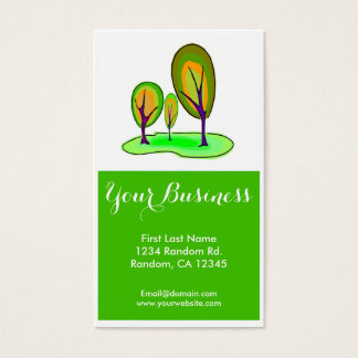 Bright green trees customizable business cards