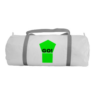 Bright green up arrow GO! text on white bag Gym Duffel Bag