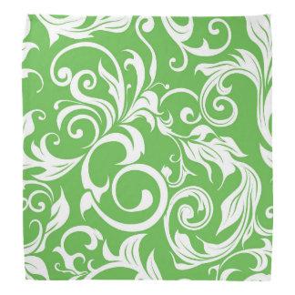 Bright Kelly Green Floral Wallpaper Pattern Bandana