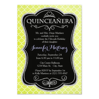 Bright Lime Green, Grunge, Moroccan Quatrefoil Personalized Announcement
