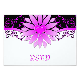 Bright Magenta and Black Wedding RSVP Card