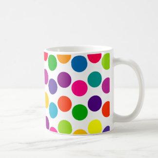 Bright Multicolored Polka Dots Pattern Coffee Mugs