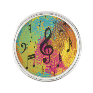 Bright Music Notes on Explosion of Color Lapel Pin