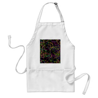 Bright Neon Colors Line Art Pink Teal Lime Standard Apron