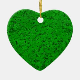 Bright Neon Green Cork Bark Look Wood Grain Christmas Ornament