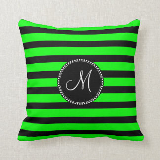 Bright Neon Lime Green and Black Stripes Cushion