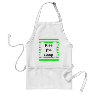 Bright Neon Lime Green and White Stripes Pattern Standard Apron