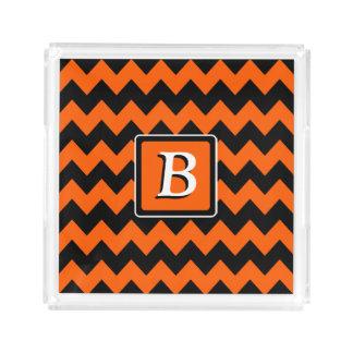 Bright Orange and Black Chevron | Monogram