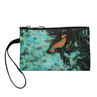 Bright Orange and Blue Beta Fish Coin Wallets