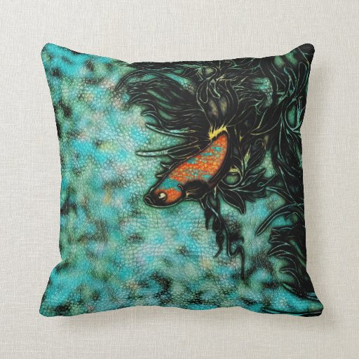 Bright Orange and Blue Beta Fish Throw Pillow