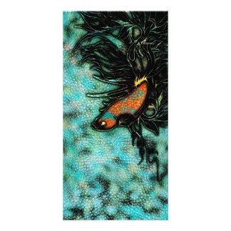 Bright Orange and Blue Beta Fish Personalized Photo Card