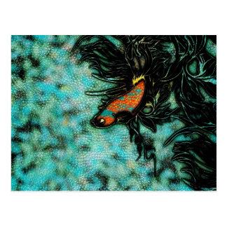 Bright Orange and Blue Beta Fish Postcard