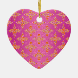 Bright Orange and Pink Double Damask Ceramic Heart Decoration
