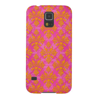 Bright Orange and Pink Floral Damask Case For Galaxy S5