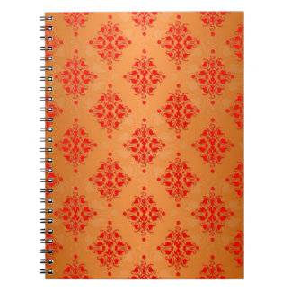 Bright Orange and Red Damask Pattern Note Books
