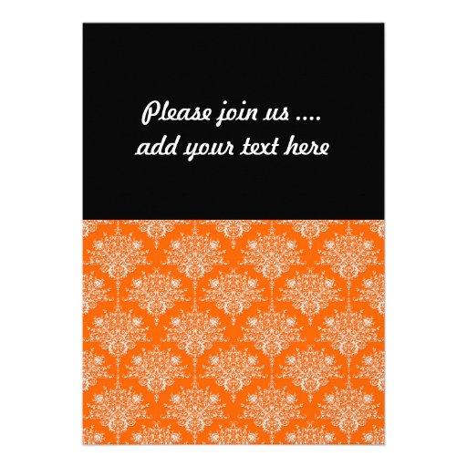 Bright Orange and White Damask Cards