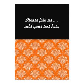 Bright Orange and White Damask 5x7 Paper Invitation Card